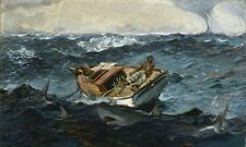 Oil painting Winslow Homer Be isolated and helpless man on boat with Shark 36""