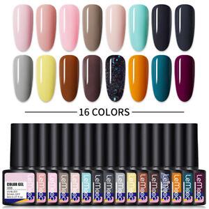 16 Colors LEMOOC UV Gel Polish Purple Pink UV LED Nail Varnish Kit Base Top Coat