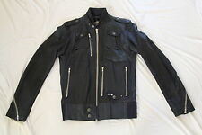 DIESEL LIROY NAVY BLUE LAMB LEATHER BIKER JACKET SMALL RARE VINTAGE MENS