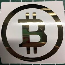 2 Gold Chrome Mirror Finish Bitcoin Stickers Indoor Outdoor Bitminer Miner