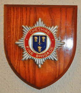 Cheshire Fire Brigade plaque shield crest badge service