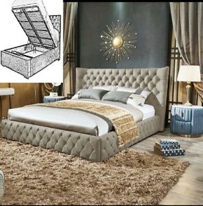 Naples Fabric Winged Storage Bed, Ottoman Bed Frame, Wingback Storage Bed
