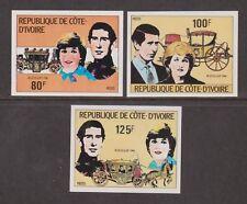 1981 Royal Wedding Charles & Diana MNH Stamp Set Ivory Coast Imperf