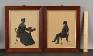 Pr Antique 1830s Empire Folk Art Silhouette Watercolor & Ink Portrait Paintings