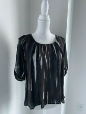 Madison Marcus Black Brown & Ivory Silk Print Short Sleeve Blouse Top SZ XS