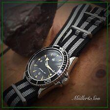 NEW 22mm Black and Gray Striped Nylon Watch Strap James Bond Strap