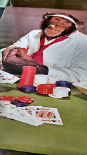 1978 Poker Face Chimp playing cards vintage new  NOS poster HBX63