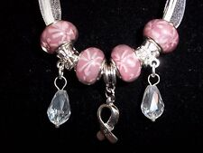"PINK Handmade Tibetan Silver CANCER AWARENESS ""Hope"" Charm Crystal Necklace N-27"