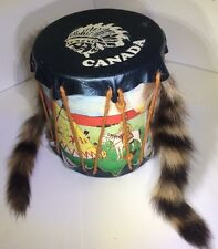 Vintage Indian Tom Tom Drum Play Toy Canada Souvenir With Two Fur Raccoon Tails