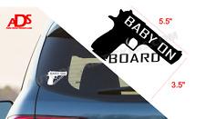 Baby on Board Gun Car Decal Window Sticker Safety Sign Pistol Truck Suv   #17