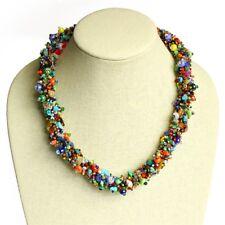 """NE157-101 Artisan Glass Bead Multicolored Choker Necklace 22"""" Jewelry Mayan Fine"""