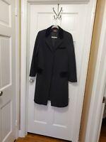 Vintage Alorna Jet Black Wool Coat - MED.