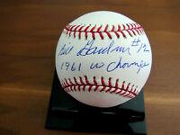 BILLY GARDNER # 12 1961 WS CHAMPS NEW YORK YANKEES SIGNED AUTO OML BASEBALL JSA