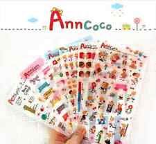 #62 Ann Coco Cute Candy girl PVC Stickers Deco 6 sheets