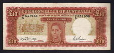 Australia R-59F. (1943) 10 Pounds - Armitage/McFarlane.. 1st Prefix V/5.. Fine+