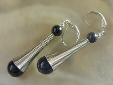 28 mm Blaufluss Donut Ohrringe Ohrhänger Earrings mit Edelstahl Brisuren