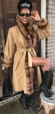 New Designer Yves St Laurent Russian Sable Fur Trim Trench Coat Jacket M 6-10/12