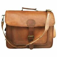 "Bag 17"" Leather Vintage Shoulder Purse Large Tote Brown Satchel Handbag Women"