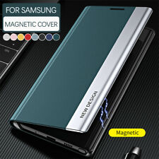 For Samsung Galaxy S21 S20 FE Ultra S10 S9 S8 Plus Magnetic Case Leather Cover