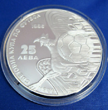 BULGARIA 25 levs -13th World Football Cup Mexico 1986 GRIFFON, Silver, MINT