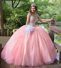 New Pink Crystal Beaded Ball Gown Quinceanera Dresses V Neck Sweet 16 Dresses