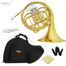 Aklot Intermediate F Single French Horn 3 Keys Gold Silver Plated Mouthpiece