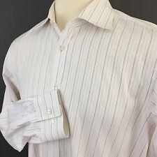 Hugo Boss Spread Collar Pink & Textured Stripe Long Sleeve Shirt Men 17 34/35 XL