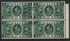 More details for 1935 ½d silver jubilee superb used booklet pane of four inverted wmk. sg 453aw