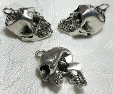 SKELETON SKULL WITH MOVING JAW FINE PEWTER CAST PENDANT CHARM USA ANTIQUE SILVER