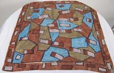 Vintage 1980's Brown Olive Green & Blue Geometric Design Printed Square Scarf