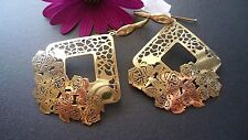 STUNNING,GENUINE GOLD PLATED SOLID  925 STERLING SILVER EARRINGS  MADE IN ITALY