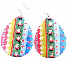 Large glittery festive Christmas bauble earrings. cute xmas santa & snowflakes