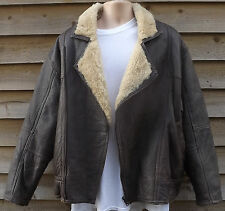 County Coats Brown Sheepskin Flying  Pilot  Aviator Flight Jacket ~ L