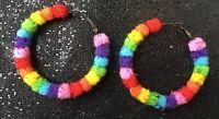 Rainbow Hoops Multi Coloured Disco LGBT Glitter Pom Pom Hoop Earrings