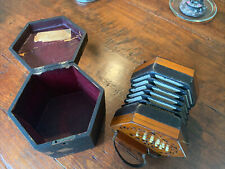 More details for lachenal c1900 anglo concertina with original box. 21 buttons. numbered 134410