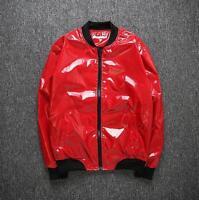 Mens Singer Stand Collar Zipper Casual Shiny Costume Nightclub Jacket Coat US Sz