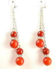 1 Red Agate Gemstone Platinum Plated Dangle Earrings & Rhinestones Beads #B148