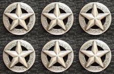 "Set of 6 Western Horse Saddle Tack Antique Star Conchos 1-1/2"" screw back"