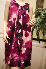 Ann Taylor LOFT PETITE Black Purple Floral Shift DRESS Knee Length 10P $89 EUC