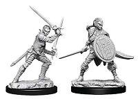 Miniatures--Pathfinder - Deep Cuts Unpainted Miniatures: Elf Female Fighter #2