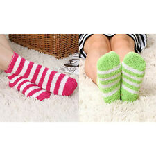 Women Girls Winter Bed Socks Solid Fluffy Warm Soft Thick Home Candy Color EF