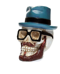 Skull Wearing Glasses and Trilby Hat Money Box