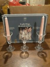 Rosenthal Group Germany German Crystal Pair of Rosenthal Classic Rose Crystal Candlestick Holders Made in Germany