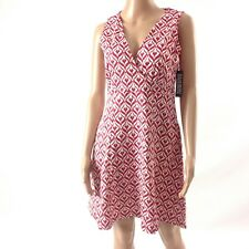 New York And Company Women Dress Size M Sleeveless Red White Flare New NWT