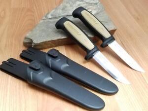 2 Pc Lot Mora Morakniv Basic 511 Carbon Steel Tan & Black Camp Knife 02208