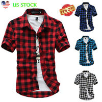 US Men's Slim Fit Casual Dress Shirt Plaid Check Print Short Sleeve Tops T-shirt