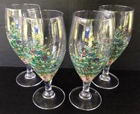 "Nikko Japan Happy Holidays Iced Tea Goblets 7 3/4"" Set Of 4 Christmas Tree"