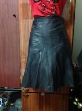 PRE-OWNED $ 500.00  Sagaie Made in France Black Leather Skirt Size L , T 3