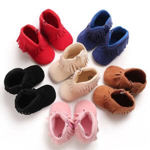 Baby Girls Cowboy Tassel Boots Side Zipper Soft Bottom Non-Slip Toddler Shoes