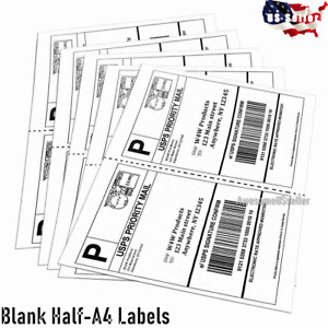 50 Half A4 Labels Tag Self Adhesive Paper Label Sticker Shipping Address 2 Tags